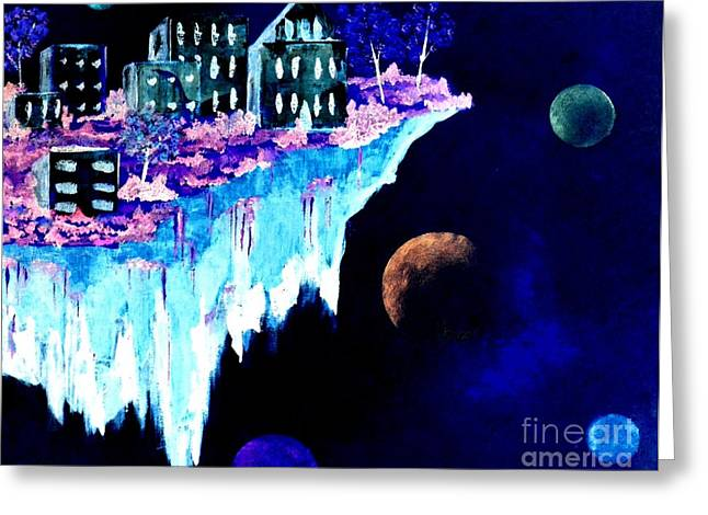 Greeting Card featuring the painting Ice City In Space by Denise Tomasura