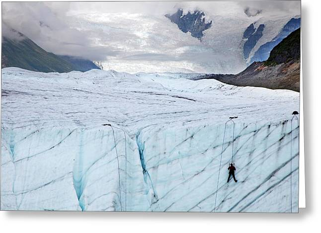 Ice Climber On A Glacier Greeting Card by Jim West