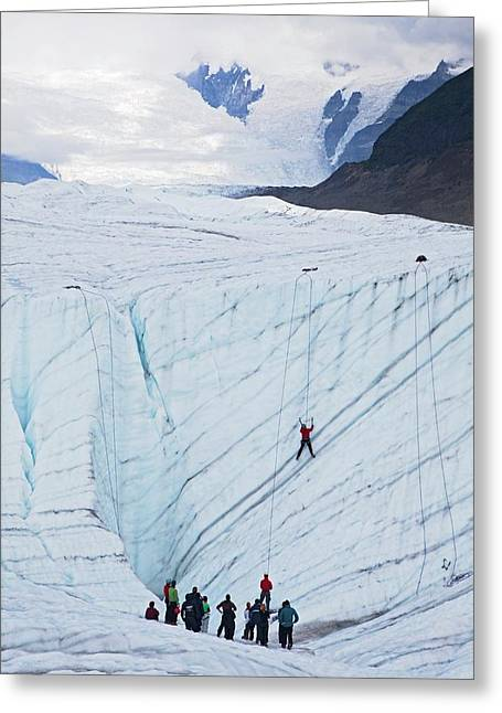 Ice-climbing Class On A Glacier Greeting Card by Jim West