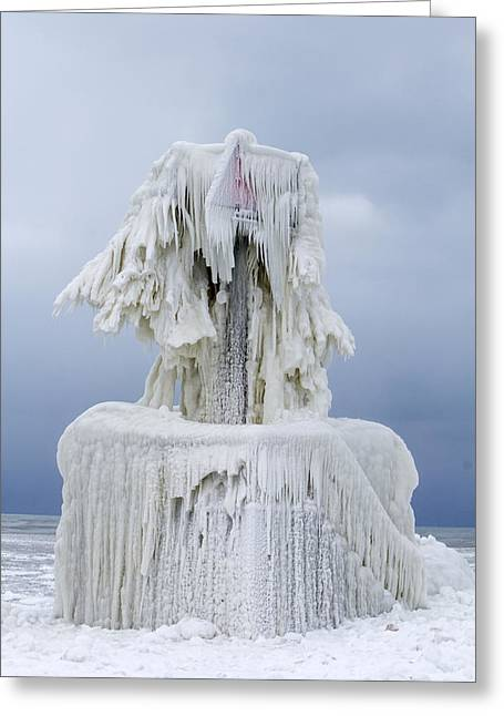 Ice Covered Warning Tower Along Lake Michigan In St. Joseph Michigan Greeting Card