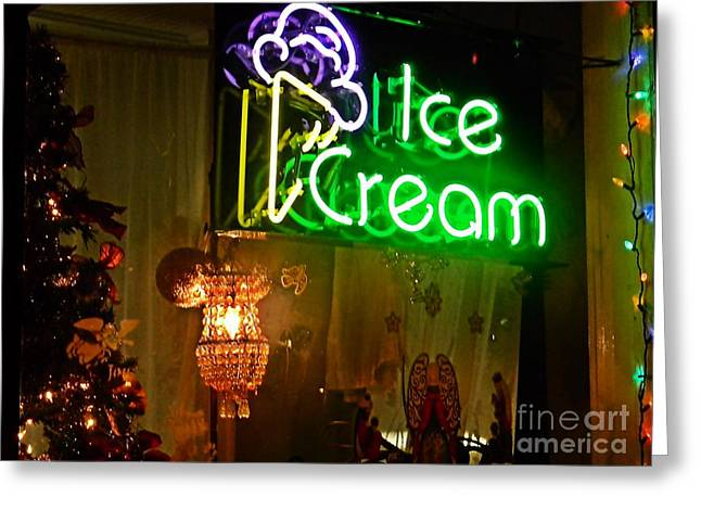 Ice Cream Decorated For Christmas Greeting Card by JW Hanley