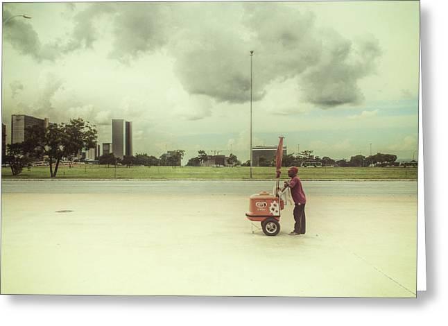 Ice Cream Man Greeting Card by Santiago Tomas Gutiez