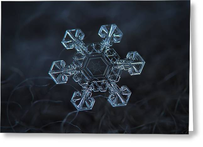 Greeting Card featuring the photograph Snowflake Photo - Ice Crown by Alexey Kljatov
