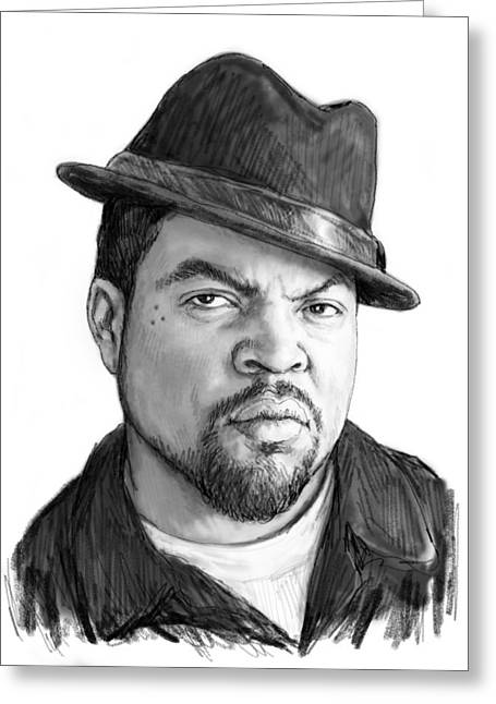 Ice Cube Art Drawing Sketch Portrait Greeting Card by Kim Wang