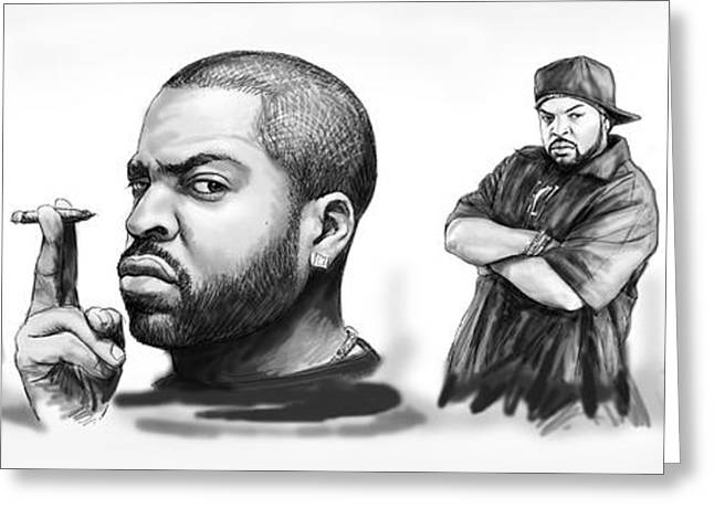 Ice Cube Blackwhite Group Art Drawing Sketch Poster Greeting Card by Kim Wang