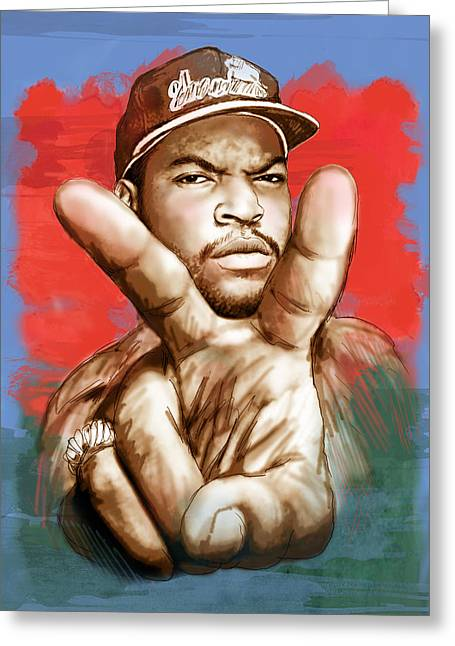 Ice Cube - Stylised Drawing Art Poster Greeting Card by Kim Wang