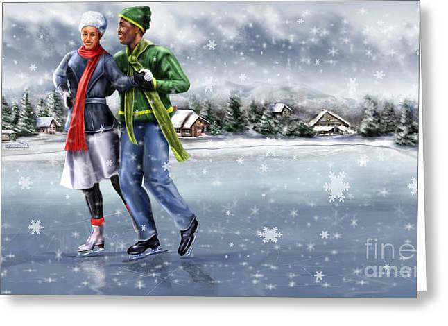 Ice Dancing On The Lake Greeting Card by Reggie Duffie
