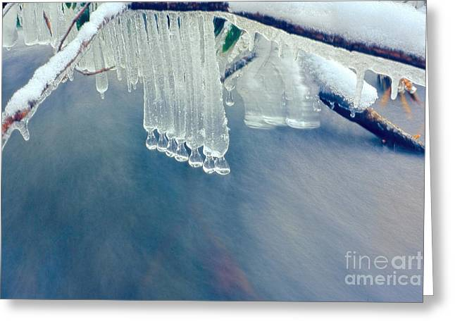 Ice Drops Over Stream Greeting Card by Dan Friend