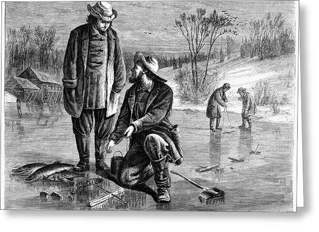 Ice Fishing, 1868 Greeting Card by Granger