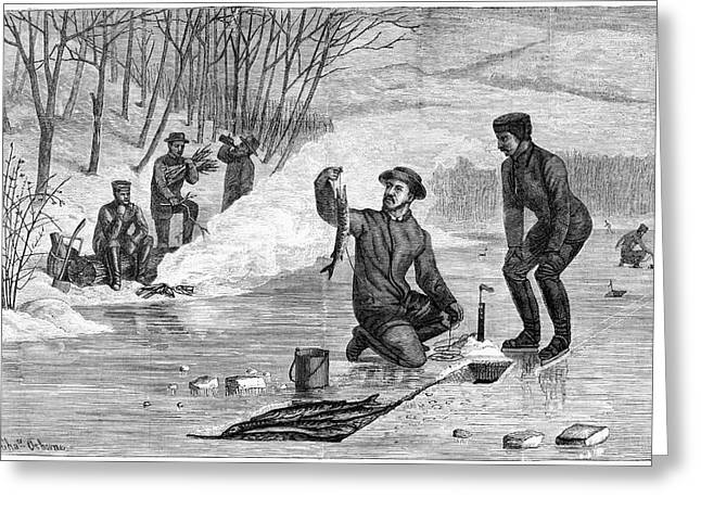 Ice Fishing, 1874 Greeting Card by Granger