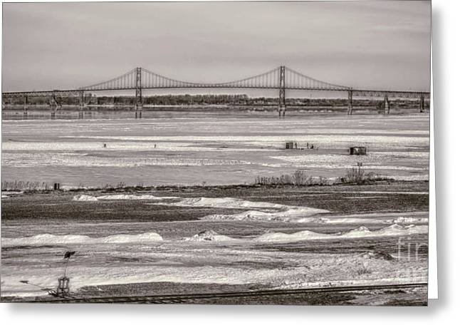 Ice Fishing On The Saint Lawrence River Greeting Card