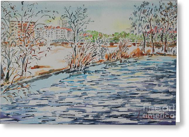 Greeting Card featuring the painting Ice Floes On River Rednitz by Alfred Motzer