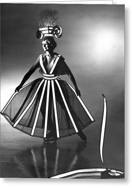 Ice Follies Lighting Costumes Greeting Card by Underwood Archives