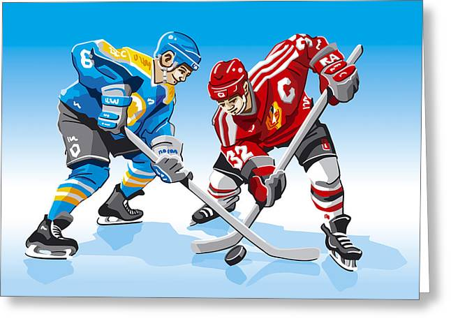 Ice Hockey Face Off Greeting Card by Frank Ramspott