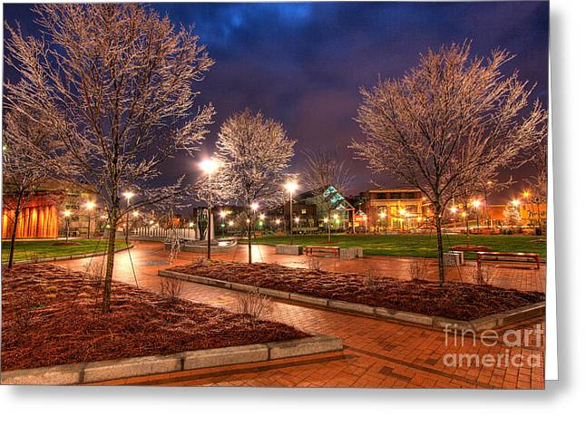 Ice In The Park - Greensboro Greeting Card by Dan Carmichael