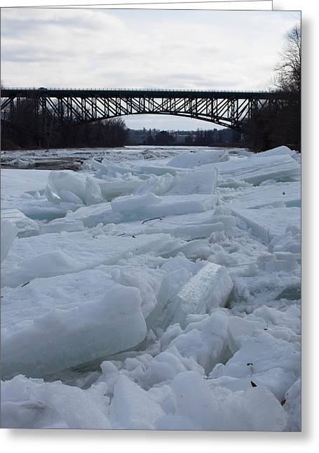 Ice Jam I-91 Bridge Brattleboro Vt Greeting Card