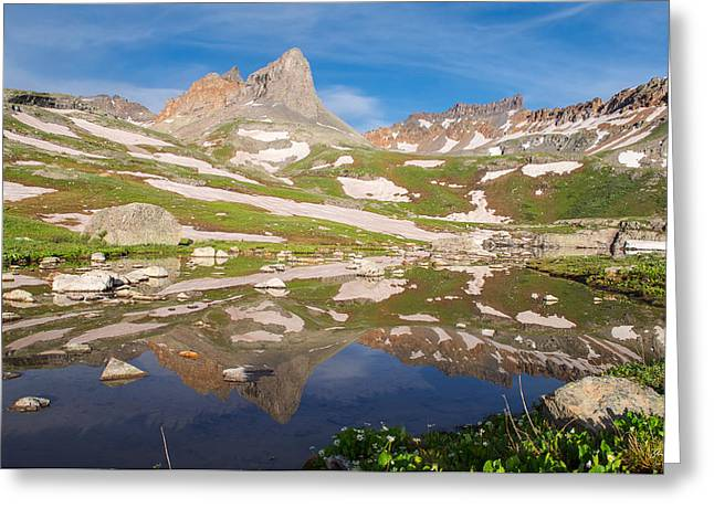 Ice Lakes Reflection Greeting Card by Aaron Spong