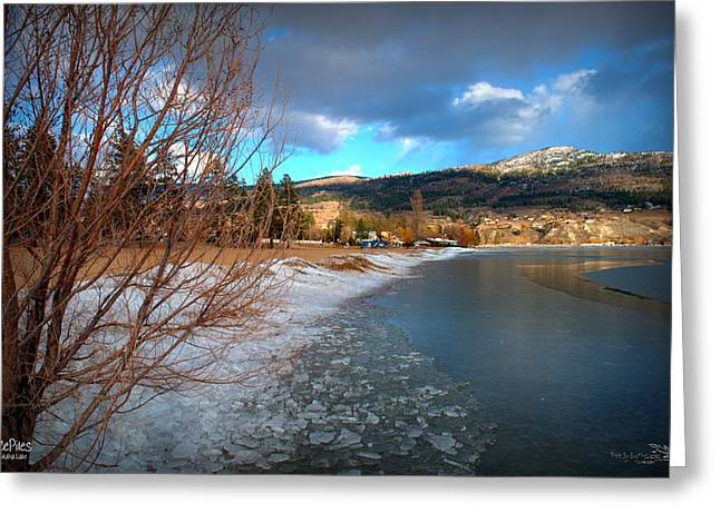 Ice Piles2 On Skaha Lake Penticton 02-19-2014 Greeting Card