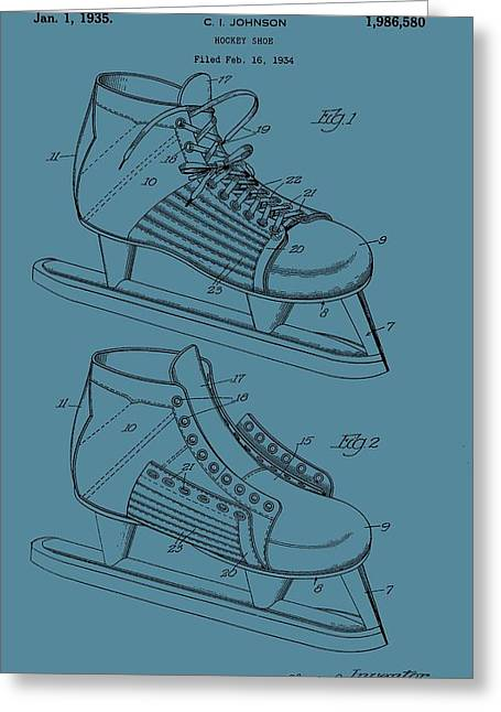 Ice Skates Patent On Blue Greeting Card