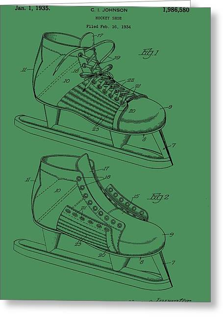 Ice Skates Patent On Green Greeting Card