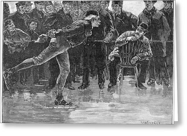 Ice Skating, 1884 Greeting Card