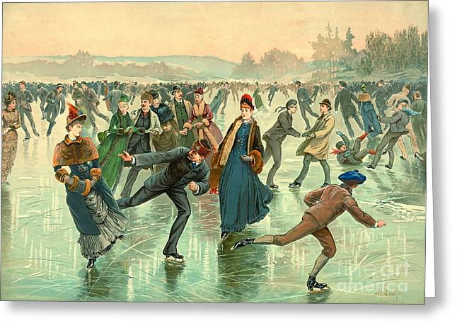 Ice Skating 1885 Greeting Card by Padre Art