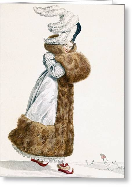 Ice Skating Dress, Engraved By Georges Greeting Card