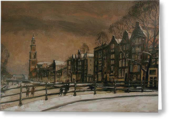 Ice Skating On The Prinsengracht Amsterdam Greeting Card
