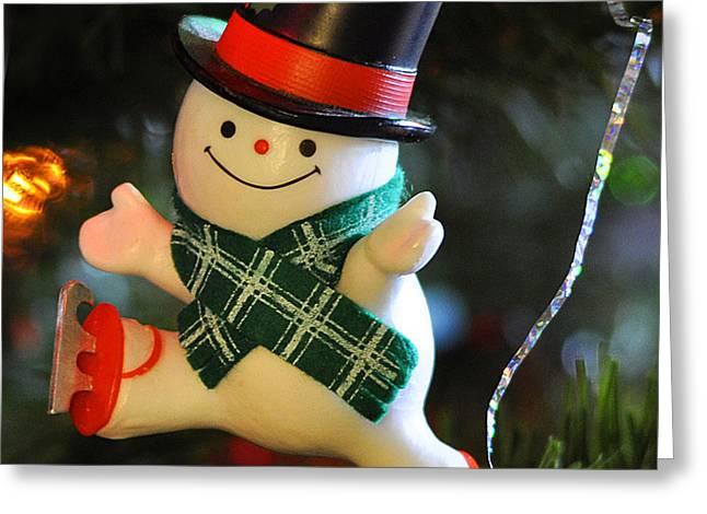 Ice Skating Snowman Greeting Card by Nava Thompson