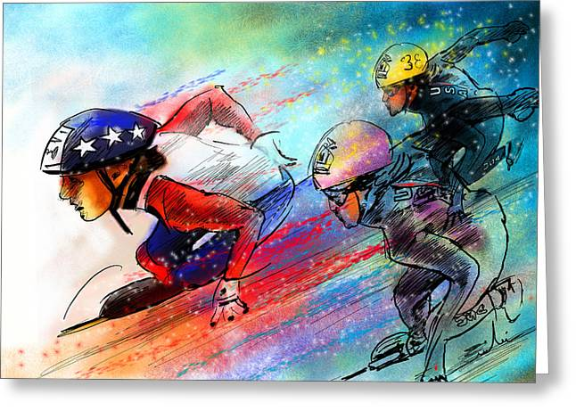Ice Speed Skating 02 Greeting Card by Miki De Goodaboom