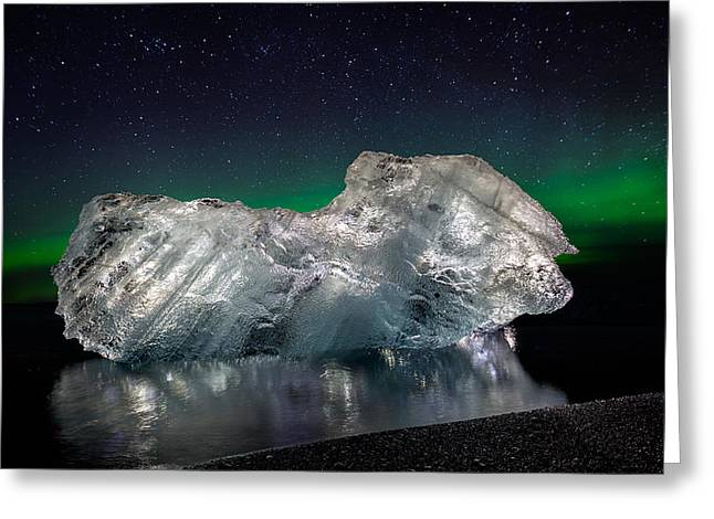Ice With The Aurora Borealis. Ice Greeting Card