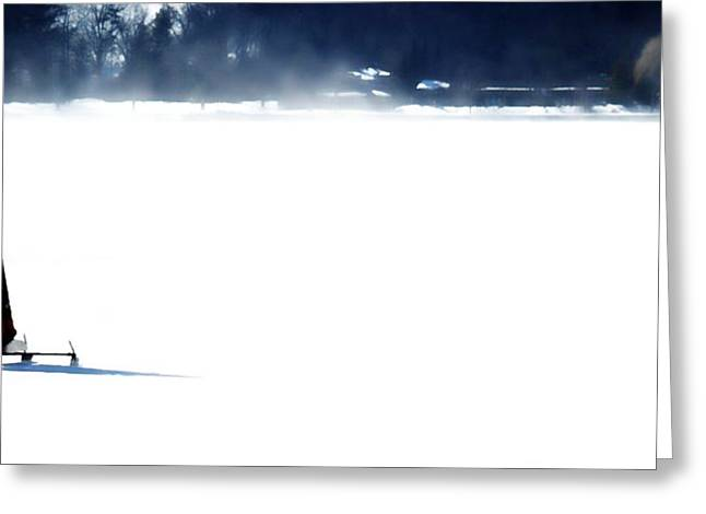 Ice Yachting Greeting Card by Michelle Calkins
