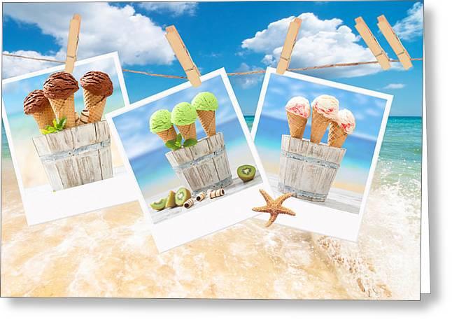 Icecream Polaroids Greeting Card by Amanda Elwell