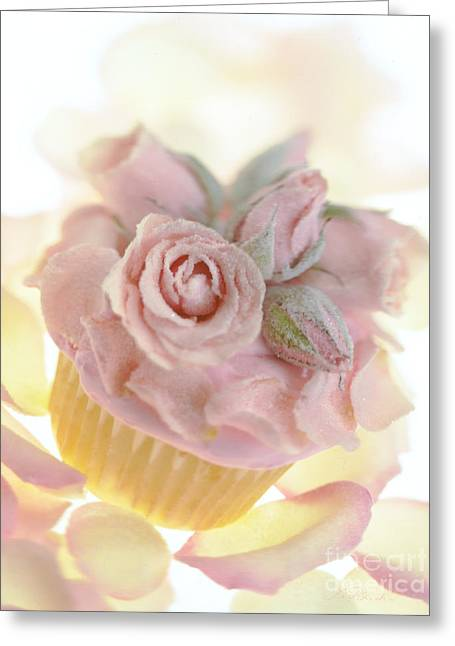 Iced Cup Cake With Sugared Pink Roses Greeting Card