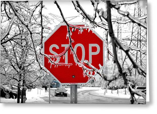 Iced Stop Sign Greeting Card by Valentino Visentini