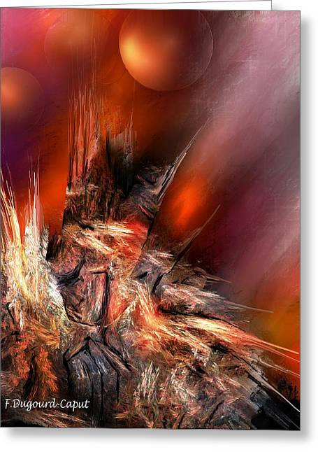 Icefire Greeting Card by Francoise Dugourd-Caput