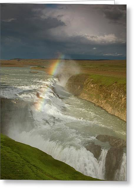 Iceland A Rainbow Arcs Over The Upper Greeting Card by Jaynes Gallery