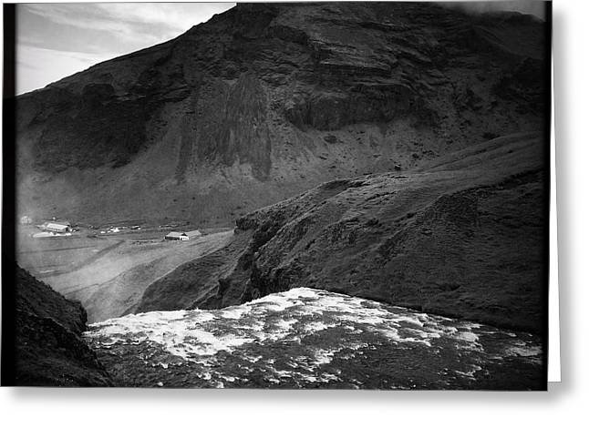 Iceland Black And White Square Format Greeting Card