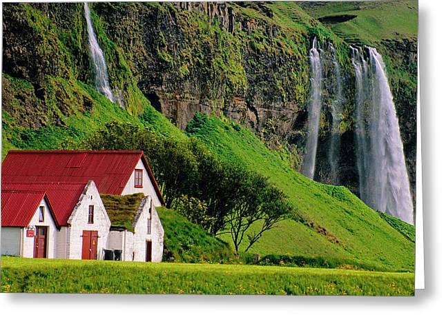 Iceland Farm Falls Greeting Card
