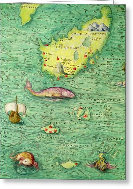 Iceland, From An Atlas Of The World In 33 Maps, Venice, 1st September 1553 Greeting Card