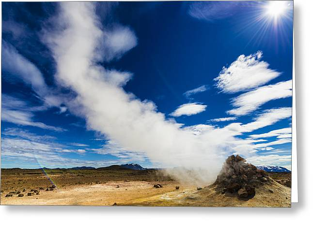 Iceland Hverir - Fumarole With Steam In Fascinating Landscape Greeting Card by Matthias Hauser