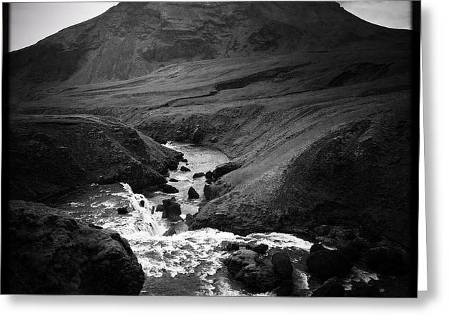 Iceland Landscape With River And Mountain Black And White Greeting Card
