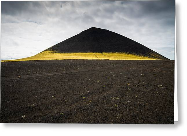 Iceland Minimalist Landscape Brown Black Yellow Greeting Card