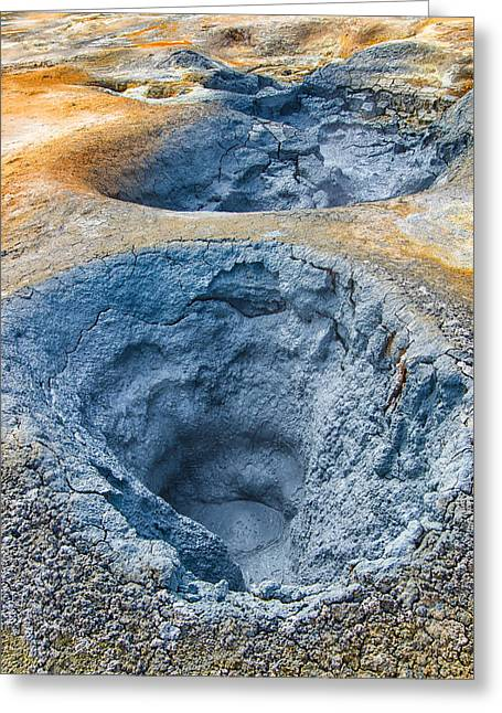 Iceland Natural Abstract Mudpot And Sulphur Greeting Card by Matthias Hauser