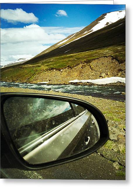 Iceland Roadtrip - Landscape And Rear Mirror Of Car Greeting Card
