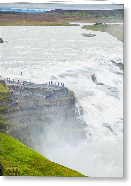 Gullfoss Waterfall Iceland Zoom Greeting Card by Cliff C Morris Jr