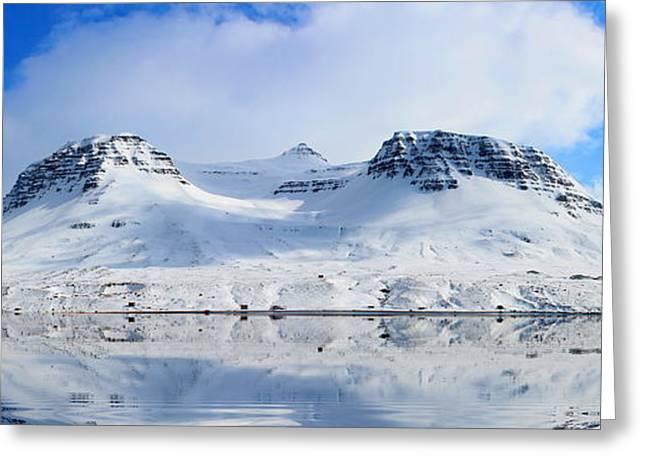 Icelandic Sunny Spring Day Panorama Greeting Card