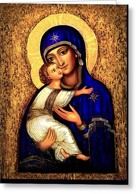 Icon Madonna Greeting Card by Ananda Vdovic