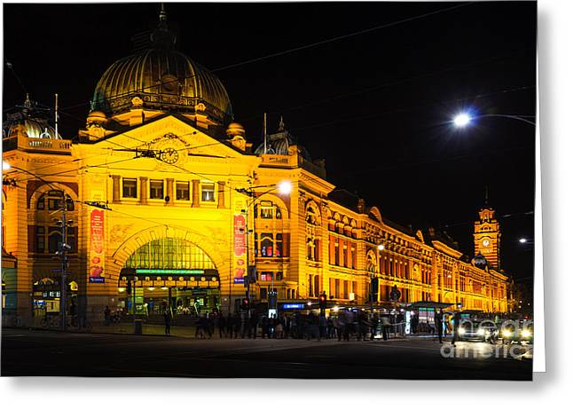 Icon Of Melbourne - Flinders Street Station At Night Greeting Card by David Hill