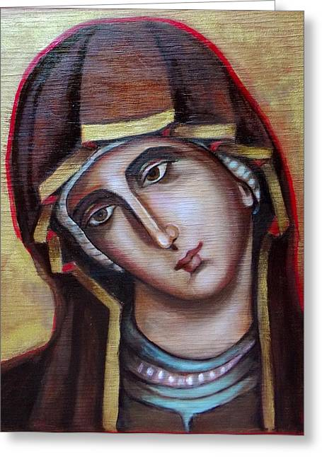 Icon Of Virgin Mary Greeting Card by Irena Mohr